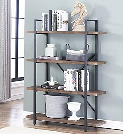 OK Furniture 4 Shelf Open Bookcase Vintage Industrial Style Bookshelves Brown