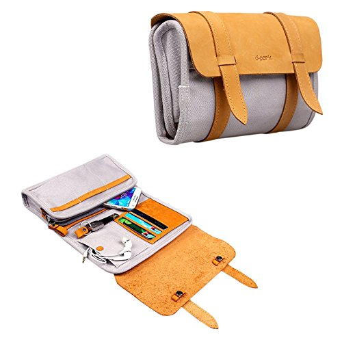 Leather Canvas Multifunction Carry Electronics Organizor Oxford Handbag Case USB Flash Drive Case Bag Wallet SD Memory Cards Cable Organizer Travel Gadget Case of Accessories for Men and Women(Gray)