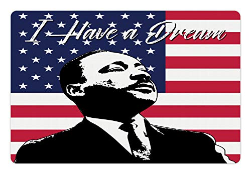 (Ambesonne Americana Pet Mat for Food and Water, Black and White Martin Luther King Portrait United States Flag and Famous Quote, Rectangle Non-Slip Rubber Mat for Dogs and Cats, Multicolor)