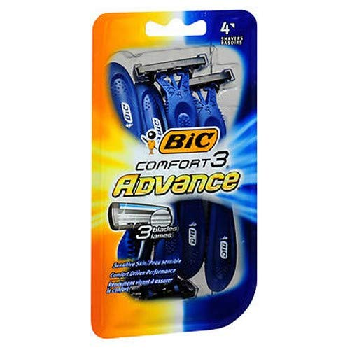 Bic Comfort 3 Advance Shaver, Disposable 4 ea (Pack of 2)