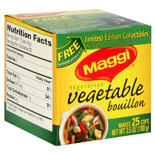 Maggi Vegetable Bouillon Cubes, 25-Count Boxes (Pack of 24) by Maggi