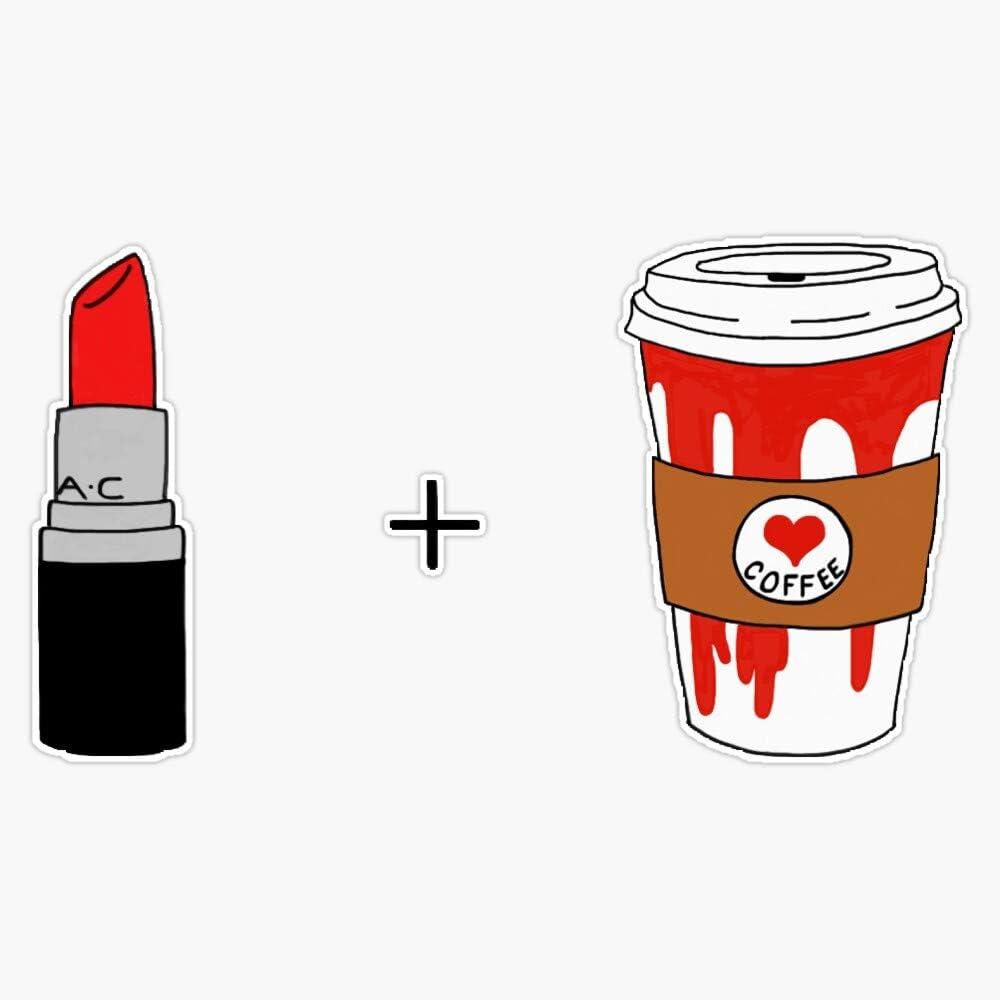 Lipstick And Coffee Sticker Vinyl Decal Wall Laptop Window Car Bumper Sticker 5