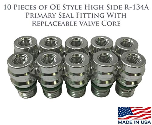 Service Port Fitting - 10pc OE Style High Side R-134a A/C Service Schrader Valve Primary Seal Fitting W/Replaceable Valve Cores