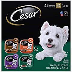Dogs with sophisticated palates will enjoy a rich culinary experience with CESAR CANINE CUISINE Gourmet Wet Dog Food. From large to small breeds, indulge your pampered pooch with savory dog food featuring a variety of poultry selection...