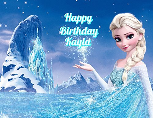 - Frozen Elsa Anna Edible Image Photo Cake Topper Sheet Personalized Custom Customized Birthday Party - 1/4 Sheet - 78318