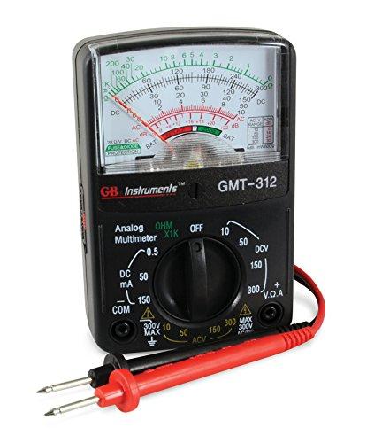 Gardner Bender GMT-312 Analog Multimeter, 5 Function / 12 Range, 300V AC/DC, for AC/DC Voltage & Current, Resistance, Continuity & Batteries by Gardner Bender