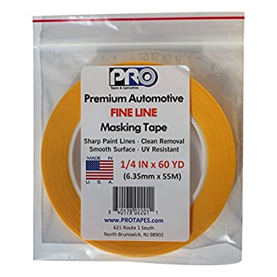 """PRO Tapes Premium Automotive FINE LINE Masking Tape 1/4 IN x 60 YDS on 3"""" Core; Pack of 1"""