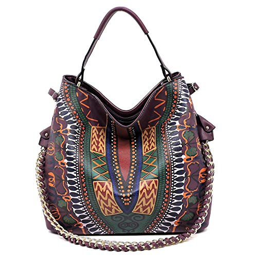 soft hobo detail chain Purple strap and bag Boho printed with roomy crossbody shoulder wXRqH4x