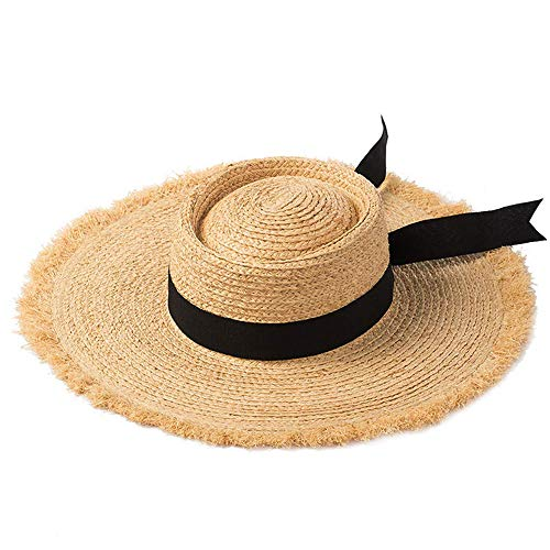 CAKUI Spring and Summer New Flat Straw Hat, Bow Hand-Woven Lafite Straw Hat, Ladies Sun Shade Edge Beach Outdoor Travel Straw Hat