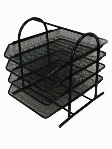 Buddy Products Mesh 4-Tier Letter Tray, 13.8 x 11.8 x 12.3 Inches, Black (ZD018-4) (Letter Buddy Products)