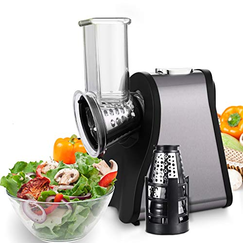 Professional Salad Maker Electric Slicer/Shredder with One-Touch Control and 4 Free Attachments for fruits, vegetables, and cheeses (Black/Silver)