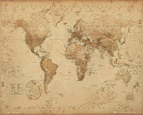 (World Map Antique Style Art Print Poster 20x16)