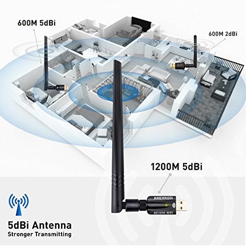 ANEWKODI USB WiFi Adapter USB 3.0 AC1200Mbps USB Wireless Adapter Dual Band 2.4GHz/5.8GHz 867Mbps 802.11ac/b/g/n Wireless Adapter Desktop/Laptop/PC, Support Soft AP Windows 10/8/8.1/7, Mac OS by ANEWKODI (Image #3)