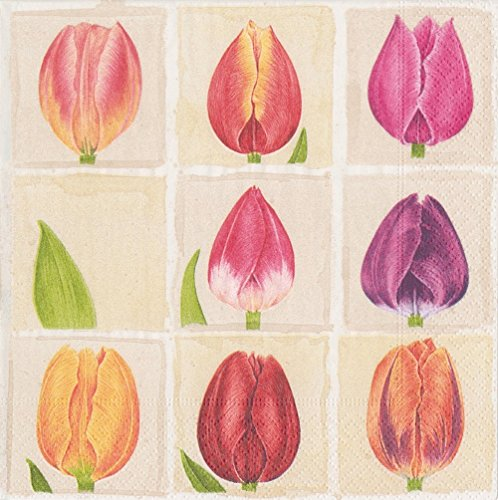 Entertaining with Caspari Tulips Paper Cocktail Napkins, Pack of 20