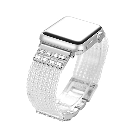 c86be1ff2 SOAOS Compatible Apple Watch Bands 38mm, 2018 Bling Crystal Faux Pearl Bracelet  Replacement Women Girls Compatible iPhone iWatch Series 3/2/1 Sport Nike+,  ...