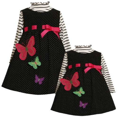 Bonnie Jean Baby Girls Infant 12M-24M Pull-Thru Ribbon Butterfly Jumper Dress