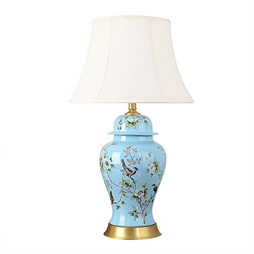 5fcae8a7e22f Large Ceramic Copper Table Lamp Gold Paint Finish with Fabric Shade,  Chinese Flower and Bird