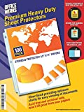 Heavy Duty Clear Sheet Protectors - 100 Pack, Reinforced Holes, 8.5 x 11 Inches, Acid Free/Archival Safe by Officewerks