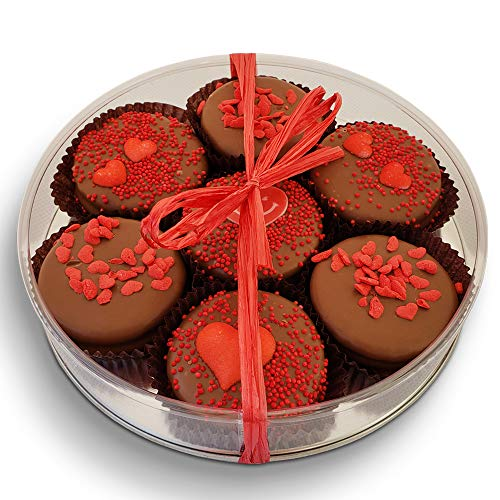 Olde Naples Valentines Chocolate Dipped Oreo Cookies, 7pc Hand Decorated Milk Chocolate Cookies Gift Basket