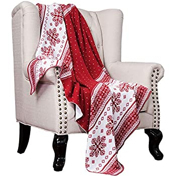 Bedsure Christmas Holiday Knitted Woven Throw Blanket Red and White Super Soft Plush Warm Winter Blanket for Bed, Couch and Gifts, 50 x 60 inches