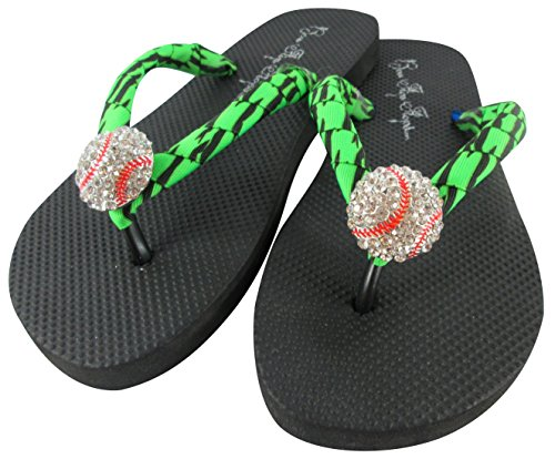 98a6d58223d5 Amazon.com  Choose Ribbon Color Baseball Flip Flop Sandals