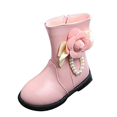 Amiley Girls Kids Childrens PU Leather School Flowers Beaded Boots waterproof Casual Mid Boots Outdoor Shoes
