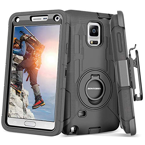 Note 4 Case, Galaxy Note 4 Case, BENTOBEN Shockproof Heavy Duty Protection Hybrid Rugged Samsung Galaxy Note 4 Case Rubber Built-in Rotating Kickstand Belt Swivel Clip Holster Note 4 Case, Black (Best Samsung Galaxy 4 Case)