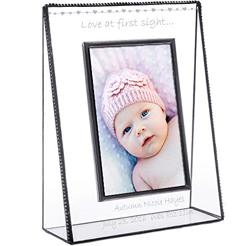 J Devlin Pic 319-46V EP558 Personalized Baby Picture Frame Tabletop 4 x 6 Vertical Engraved Glass Keepsake Gift