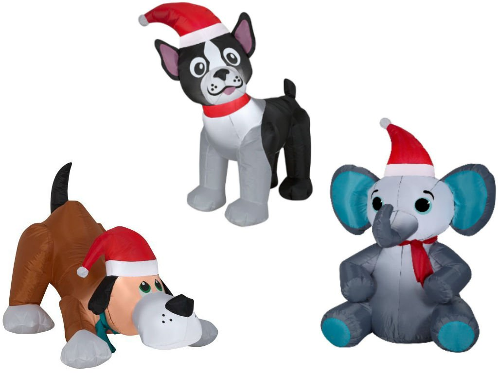 Airblown Inflatable Christmas Animals 3 pack - Boston Terrier 3.5ft, Playful Puppy Dog with Santa Hat, 2.5 Tall and Elephant with Santa Hat and Scarf