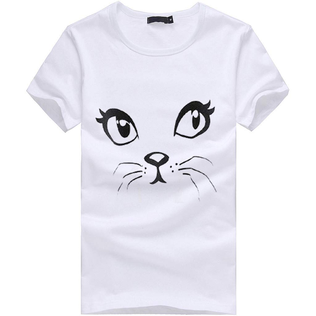 minjiSF Women's Summer Cat Print Tee Short Sleeve Round Neck Loose Closure Casual Blouse T-Shirts Plus Size White