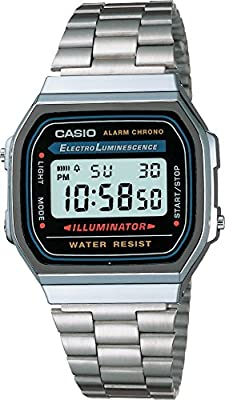 Casio A168W-1 Men's Watch with Black Face/ Silver Band