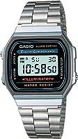Casio A168WA-1Q Reloj Digital, Unisex, Cuadrado, color Gris y Plata