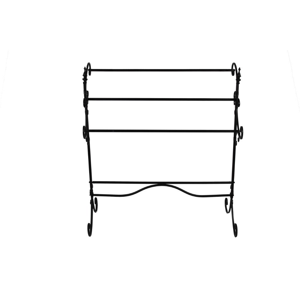 Benjara BM72794 Spacious Metal Blanket Rack with Three Bars, Black by Benjara