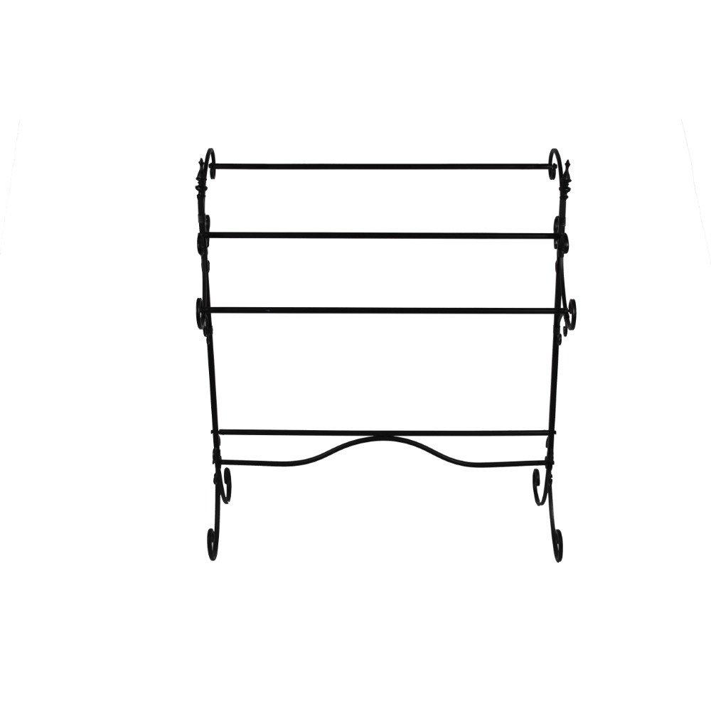 Benzara BM72794 Spacious Metal Blanket Rack with Three Bars, Black