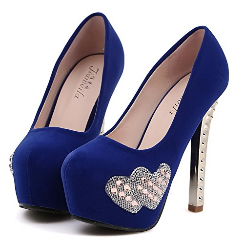 VogueZone009 Womens Closed Toe Round Toe High Heels Spikes Stiletto PU Frosted Solid Pumps with Platform, Blue, 5 UK