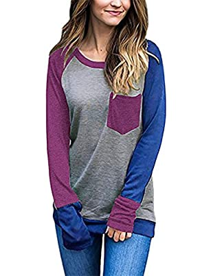 EMVANV Women's Soft Color Block Long Sleeve Patchwork Sweatshirts Pullover Top
