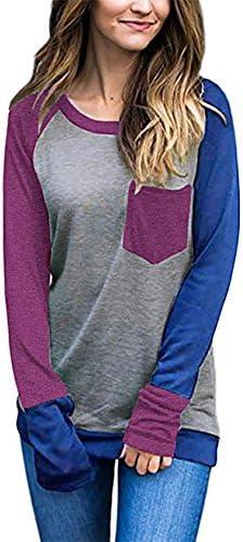 hnnatta Womens Casual Manga Larga Cuello Redondo Jersey Color Block bolsillo Pullover Sudadera Tops