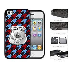 Proud Police Officer's Wife Houndstooth 2-Piece Dual Layer High Impact Rubber Silicone Cell Phone Case Apple iPhone 4 4s