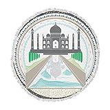 KESS InHouse Famenxtthe Taj Mahal India Green Gray Round Beach Towel Blanket