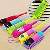 CanViUK Cute Dusting Brush Household Cleaning Brush Duster Head & Plastic Handle for Furniture / Home Appliance / Office Computer (Random Color)