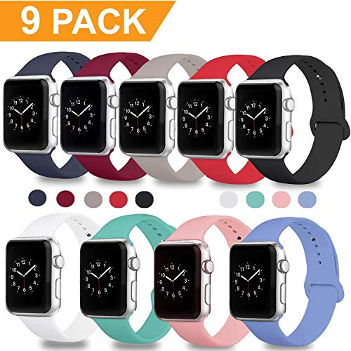 DOBSTFY Compatible Apple Watch Sport Band 38mm 42mm, Soft Silicone Replacement iWatch Bands Strap Sport Band Compatible Apple Watch Series 3 2 1 Nike+ Edition, S/M M/L, 9PACK, 42mm M/L