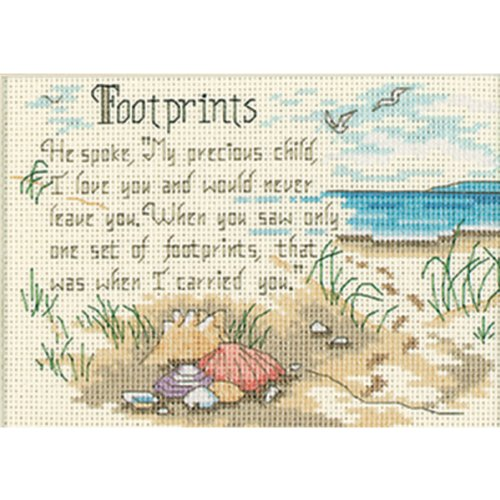 Dimensions 'He Spoke' Footprints Counted Cross Stitch Kit, 14 Count Ivory Aida, 7'' x 5'' ()