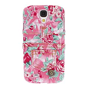 PEACH-ships in 48 hours Pretty Flower Denim Style Protective Hard Case for Samsung Galaxy S4 I9500