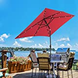 SUNNYARD 7 by 9 Feet Outdoor Solar Powered LED Lighted Patio Umbrella Aluminum Table Market Umbrella with Crank and Tilt, Red