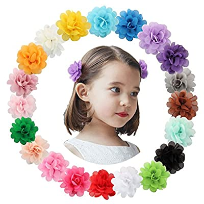 HowYouth Baby Girl's Hair Accessories 20Pcs Multicolor Chiffon Flowers Petal Hair Bow Barrettes Boutique Alligator Clips