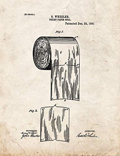 "Toilet Paper Roll Patent Print Old Look (8.5 ""x 11"") M11329"