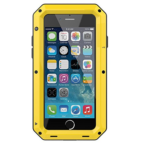 iPhone 8 Case,Gorilla Glass Luxury Aluminum Alloy Protective Metal Extreme Shockproof Military Bumper Heavy Duty Cover Shell Case Skin Protector for Apple iPhone 8/iPhone 7 (Yellow)