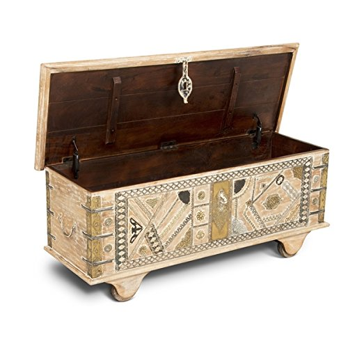 Aluva Antique White Wood 46-inch Decorative Storage Trunk by Greyson Living