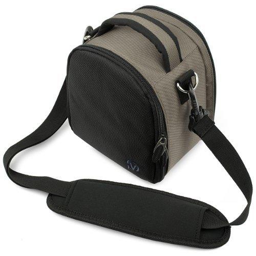VanGoddy Laurel Carrying Bag for Olympus OM-D E-M5 II Mark II / OM-D E-M10 / OM-D E-M1 / OM-D E-M5 Mirrorless Digital SLR Cameras + Mini Tripod + Screen Protector (Grey)