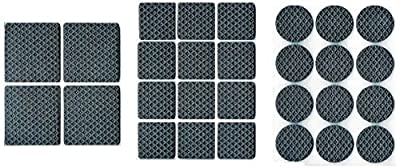 "RamPro 28Pc Anti-Skid & Scratch Rubber Furniture Protection Pads Kit & Self Adhesive Floor Scratch Protectors Set - 1"" Round, 1"" Square & 1.5"" Square"